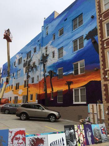 Architecture Art Beach Building Exterior Built Structure California Cherry Picker City City Colours Day Graffiti Graffiti Art No People Outdoors Paintings Palm Tree Sky Street Art SUV Transportation Urban Art