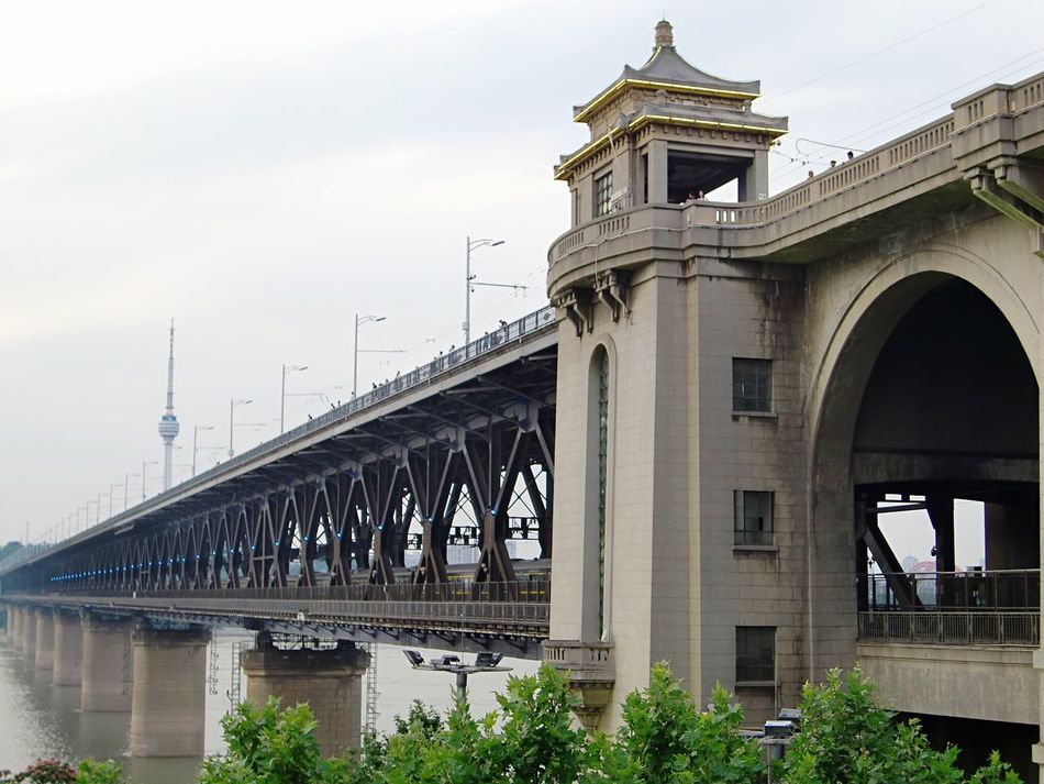 Architecture Built Structure Connection Bridge - Man Made Structure Day Outdoors Low Angle View No People Building Exterior Sky Yangtze River Changjiang Bridge Wuhan HuBei China