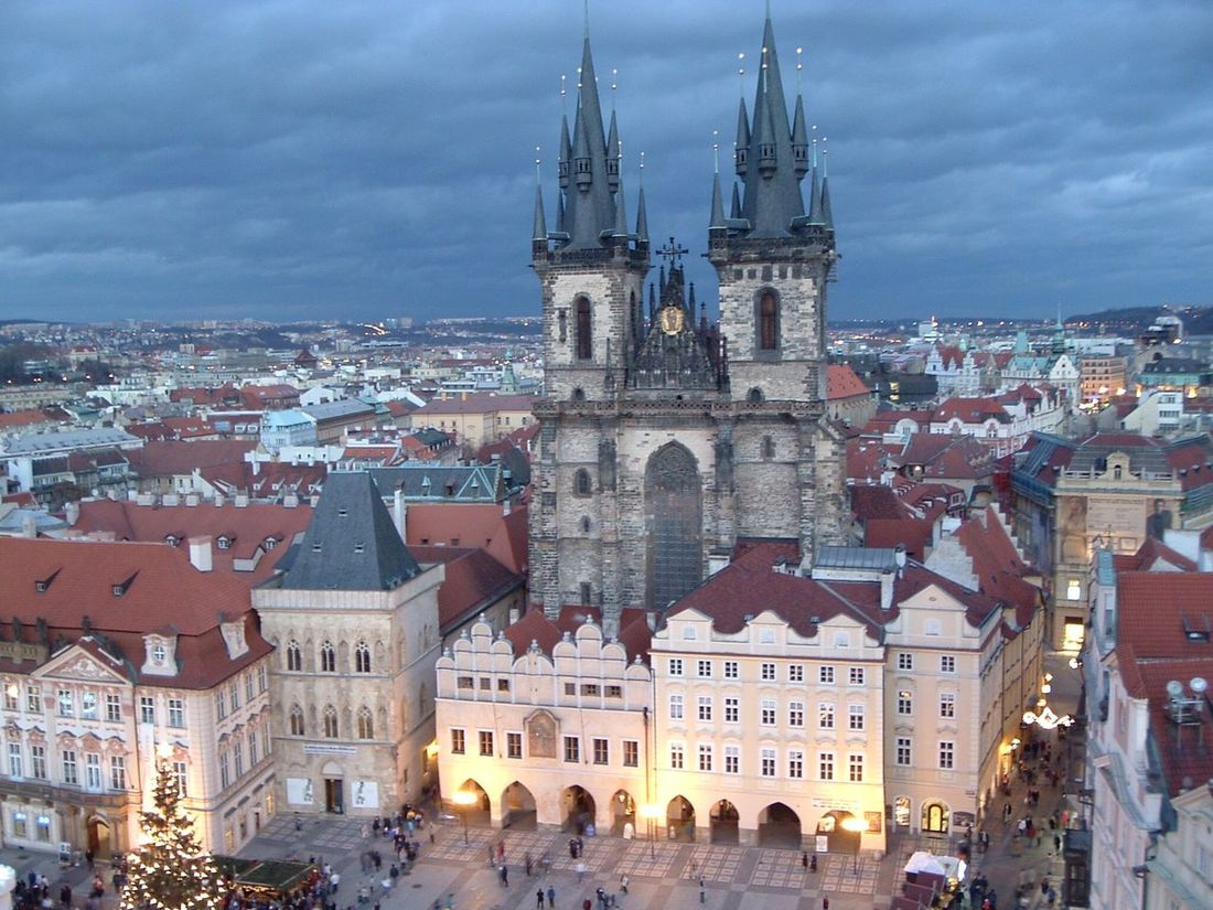 Prague Town Center Building Exterior Built Structure Architecture Place Of Worship Church Spirituality Religion Cathedral City Cityscape High Angle View City Life Old Town Sky