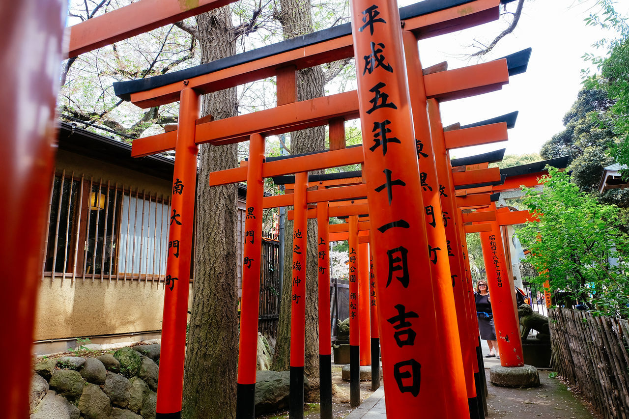 communication, built structure, architecture, text, tree, day, outdoors, no people, building exterior, shrine, spirituality, travel destinations, red