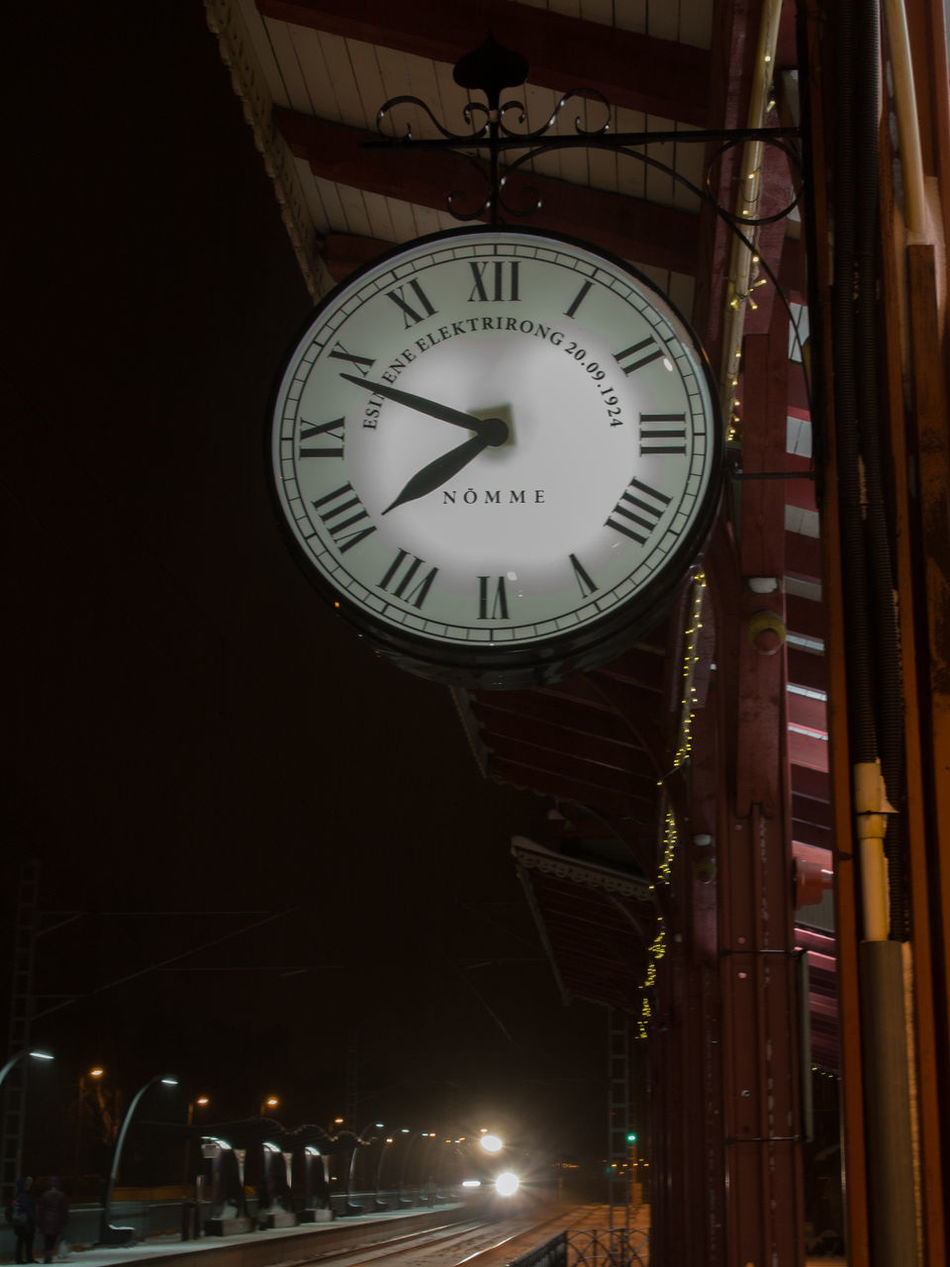 Clock Clock Face Communication Elron Instrument Of Time Minute Hand Night No People Nõmme Outdoors Station Clock Tallinn Time Train Station