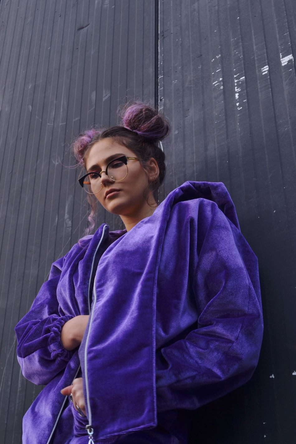 The Week On Eyem Femininity Beauty Fashion Photography Fashion Jacket Purple Glasses Young Adult Natural Light Photography ArtWork Standing Enjoying Life Portrait Of A Woman Urbanphotography Taking Photos Urban Smoke Buns
