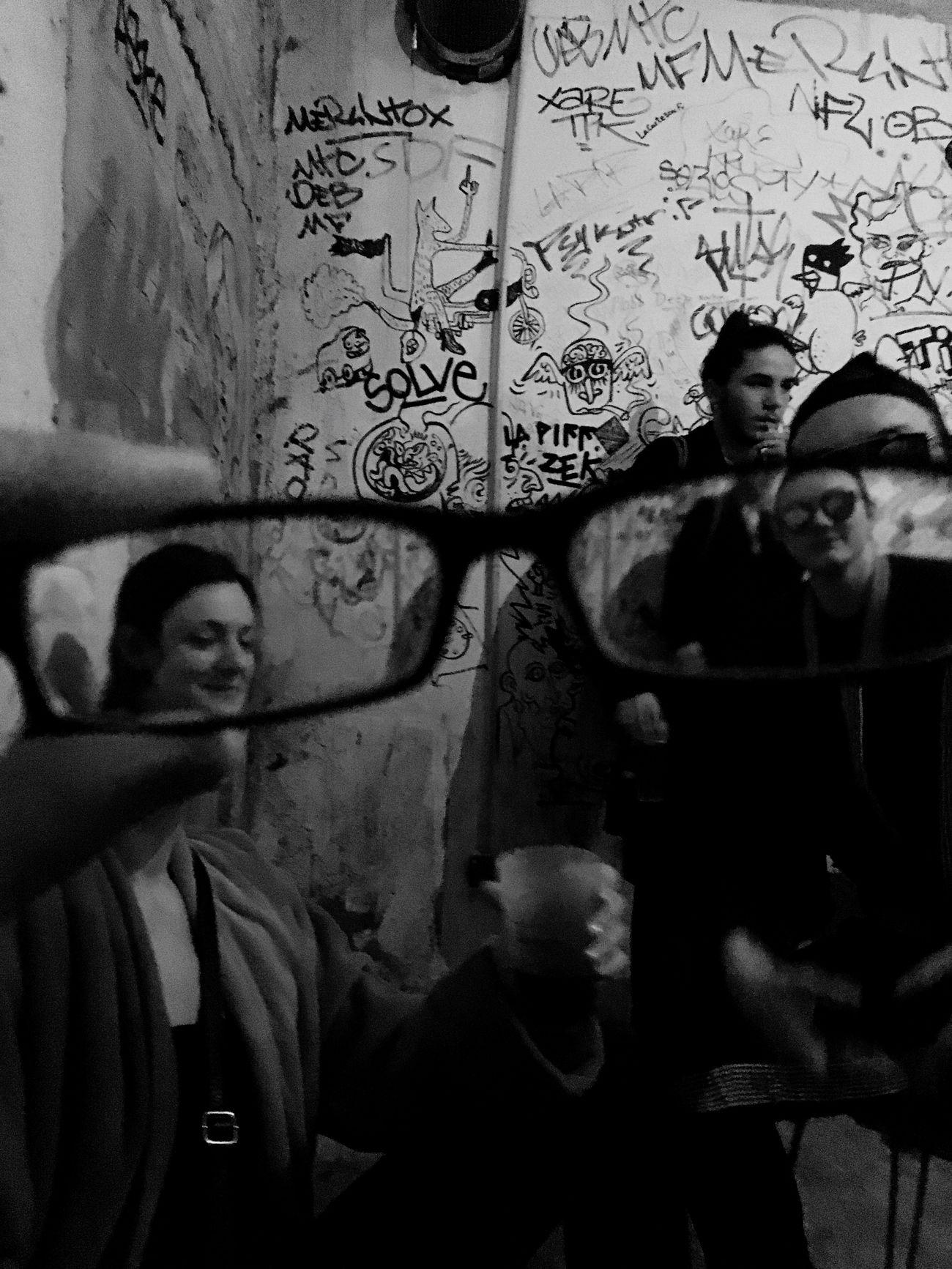 Capture d'autant plus précieuse que j'ai failli casser les lunettes d'un ami pour un résultat quelque peu décevant Lifestyles Real People Tag Tags Graffiti Art Graffiti Leisure Activity Indoors  Smiling Young Adult Noiretblanc Blackandwhite