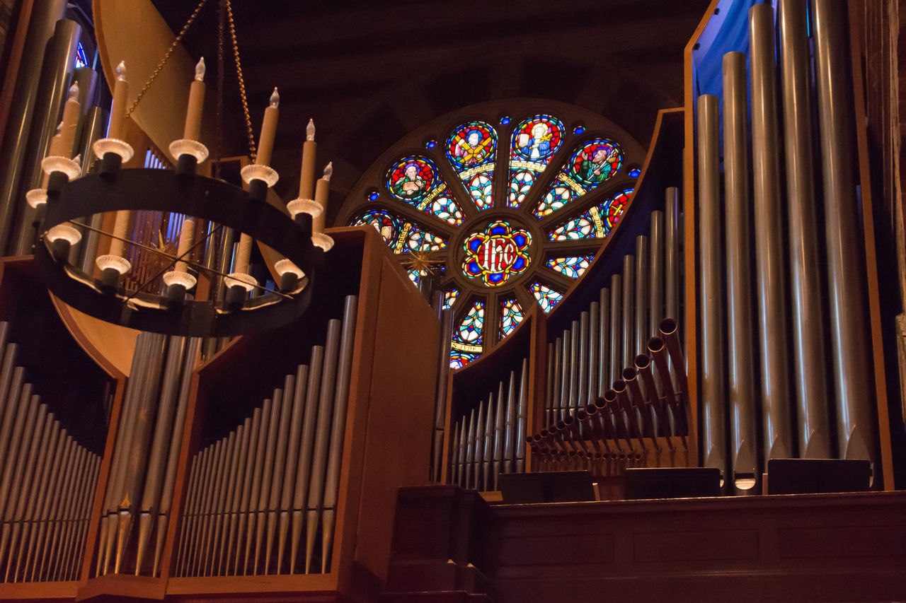 Church Organ Classical Music Day Indoors  Low Angle View Multi Colored Musical Instrument No People Place Of Worship Stained Glass Window Piano Moments