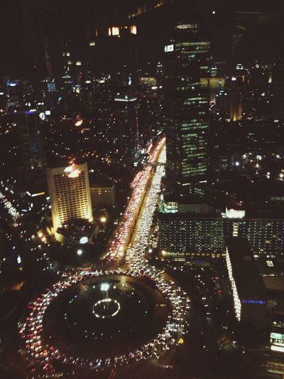 Enjoying The View of Jakarta City Lights
