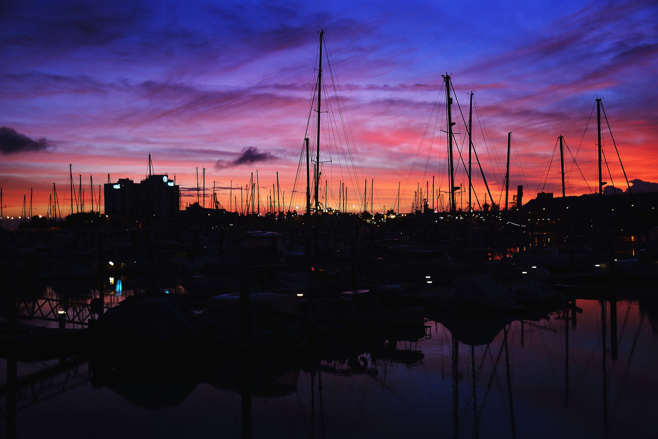 Boat Dock Boats Marina Moor  Sunrise The Strand Townsville Townsville, Queensland.