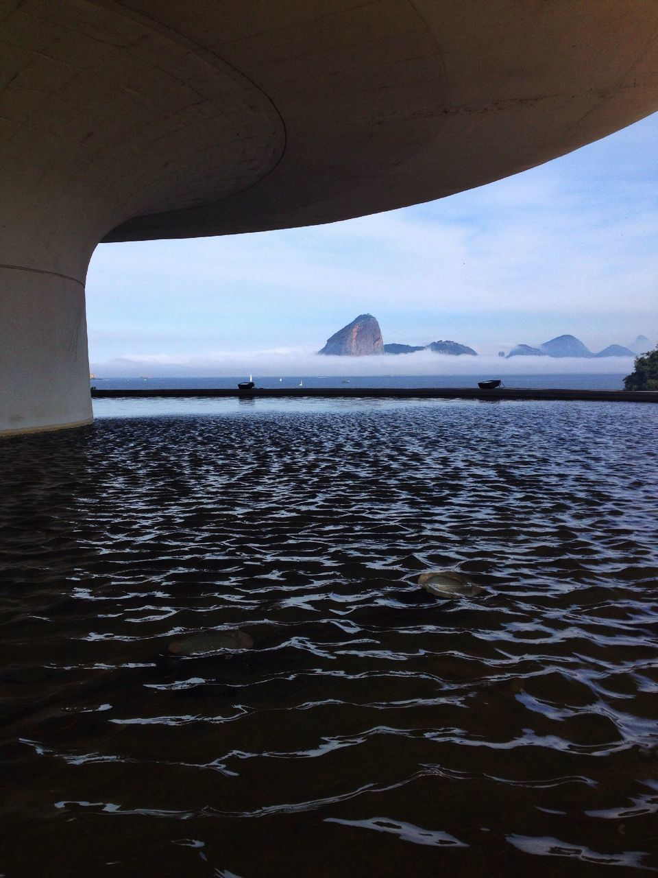Scenic View Of Sea Below Art Museum Building