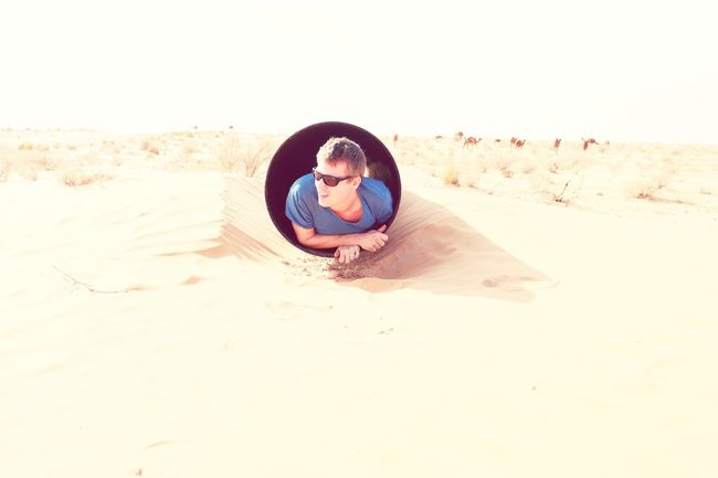 The Tourist Stuck In Pipe Surrounded By Camels Sunny Day☀ Sand Sahara Desert Tunisia