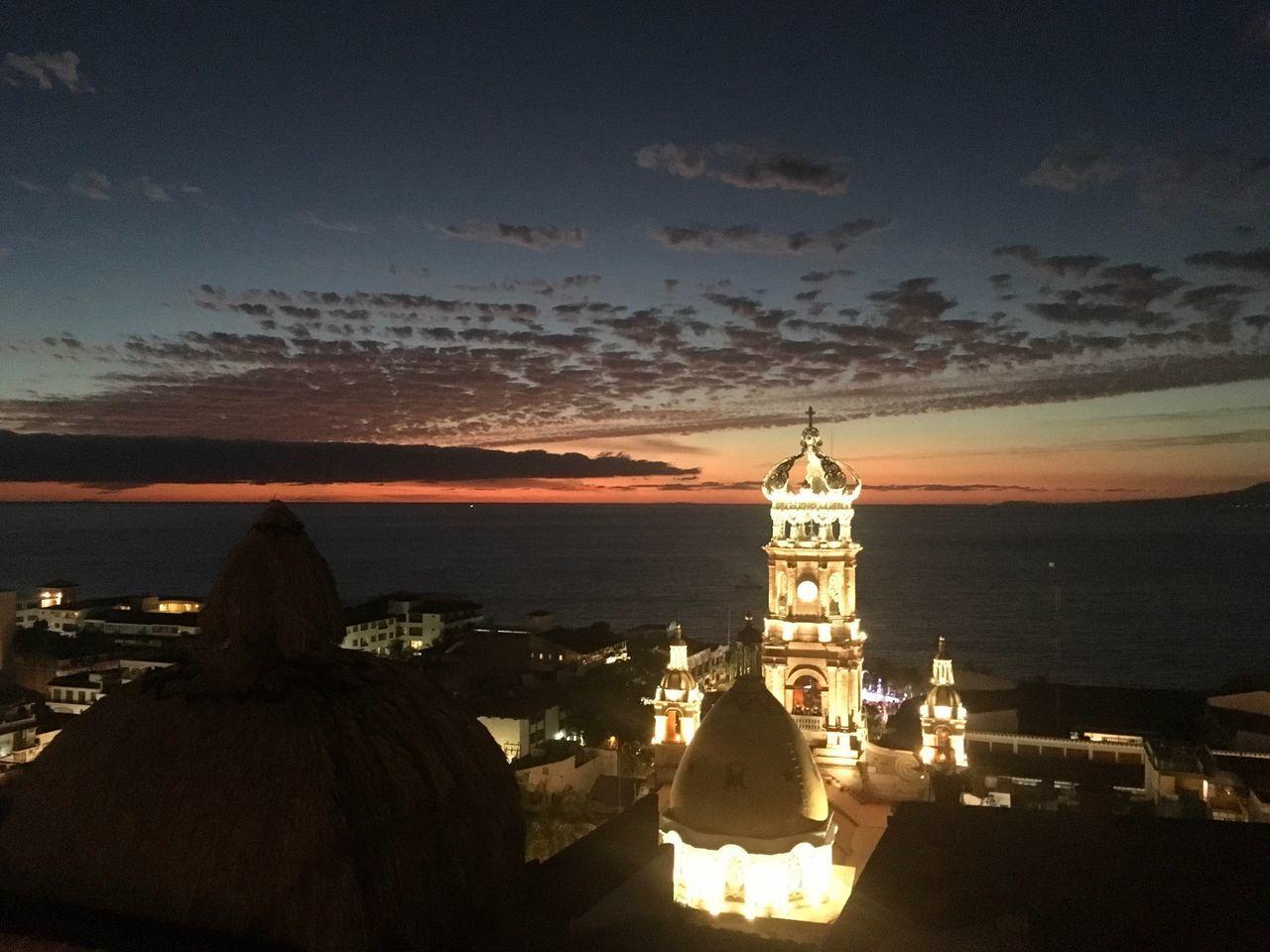 Dark clouds Dark Clouds Dark Clouds And Brightening Sun Sunset Sunset_collection Cathedral Puerto Vallarta, México Puerto Vallarta Church At Sunset Church At Night  Catholic Church Catholic Beachphotography Viewpoint