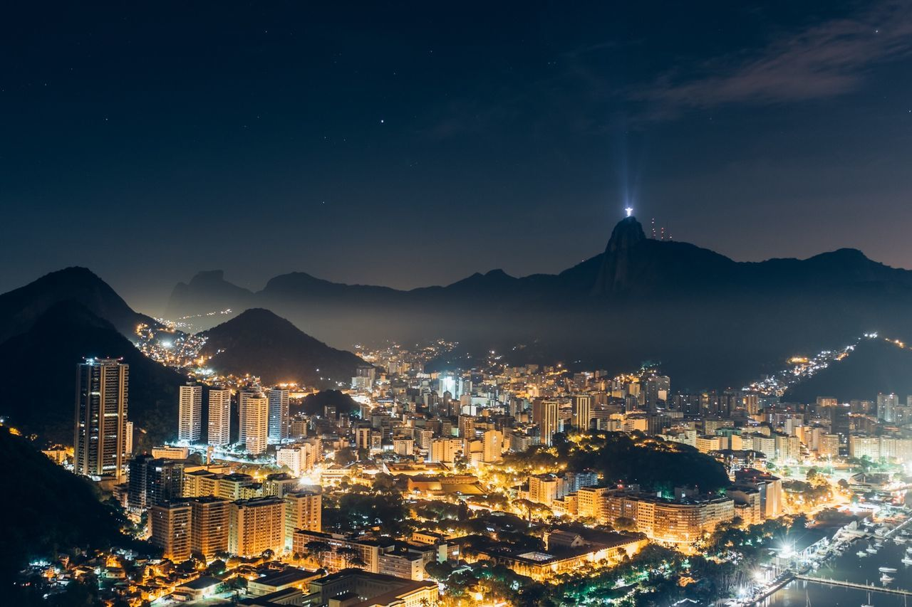 Beautiful stock photos of rio de janeiro, Clear Sky, Crowded, Housing Settlement, Illuminated