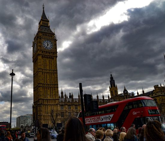 London Large Group Of People Clock Tower Architecture Cloud - Sky Built Structure Real People City People