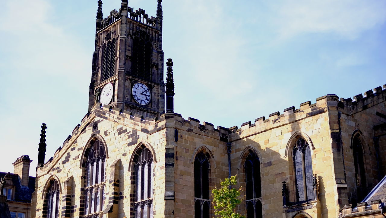 Arch Architecture Building Exterior Built Structure Church Clock Tower Gothic Style Historic History Huddersfield Low Angle View Old Town Place Of Worship Religion Sky Tall - High Tower