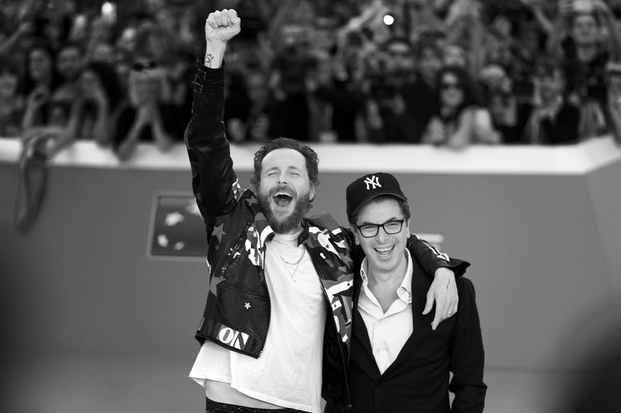 Rome, Italy - October 16, 2016. The Italian singer Jovanotti with Antonio Monda, director of the 11th International Film Festival of Rome. Antonio Monda Fans Film Festival Rome Italian Singer Jovanotti Lorenzo Cherubini Red Carpet Two People