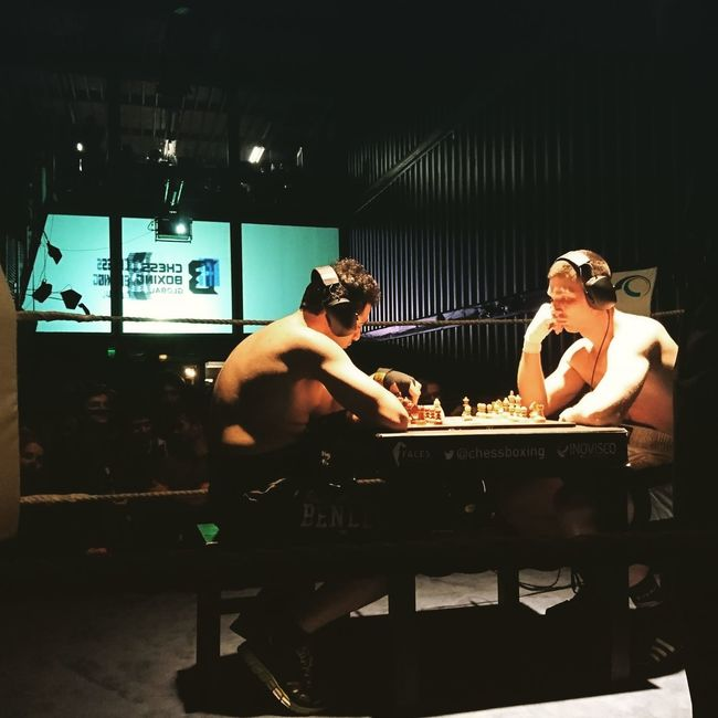 Chess time, right before the fight. Chessboxing Chessboard Boxing PLATOONKUNSTHALLEBERLIN