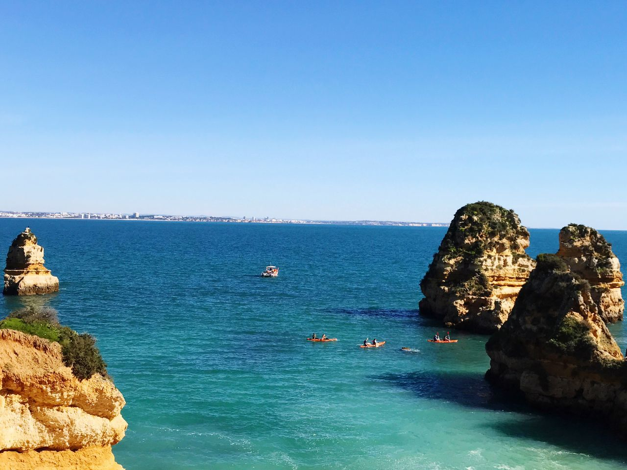 Ponta Da Piedade Algarve Praia Da Camillo Lagos Dona Ana Beach Sea Water Rock - Object Rock Formation Blue Beauty In Nature Nature Scenics Horizon Over Water Rock Day Tranquility Clear Sky Tranquil Scene Outdoors Sky No People