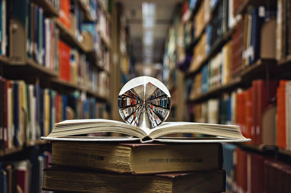 Immerse yourself in knowledge. Book Bookshelf Shelf Library Education Indoors  Wood - Material Literature No People Reflection Symmetry Crystal Ball Knowledge Is Power Art Is Everywhere
