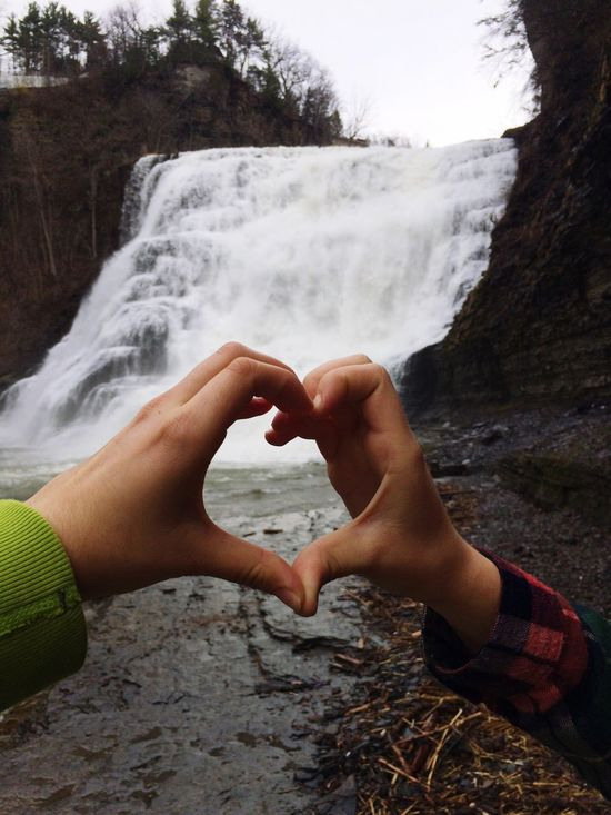 Two People Love Water Day Togetherness Heart Shape Outdoors Nature Bonding Scenics Motion Waterfall Nature Ithaca Ithaca Falls