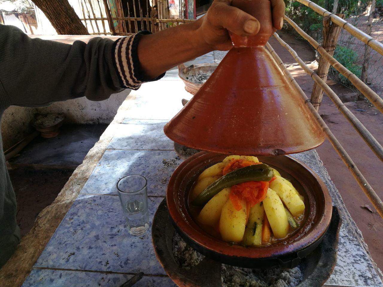 Berber  Coal Cookware Earthenware Food Meat Pot Rustic Stew Tajine Tajine Moroccan Food Typical Vegetables