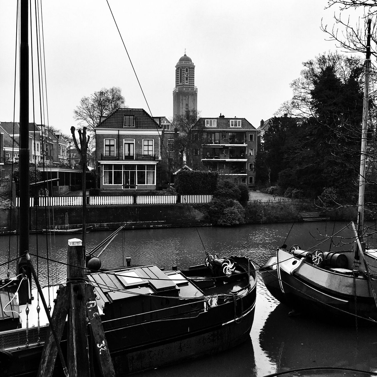 Blackandwhite Monochrome City Building Exterior Nautical Vessel Built Structure Transportation Architecture Mode Of Transport Water Moored Boat Tree City Day Outdoors Sky Waterfront River No People