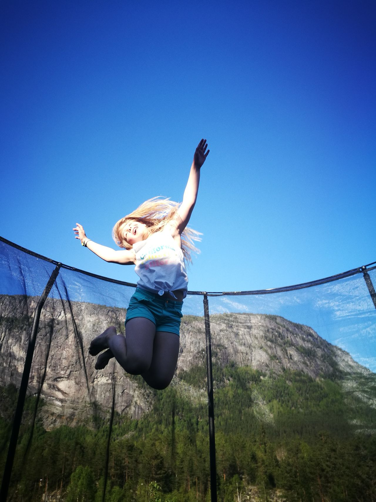 Only Women One Woman Only One Person One Young Woman Only Blue Sky People Young Women Young Adult Fun Joy Joyful Jumping Smiling In Movement Sunny Summer Summertime Setesdal HuaweiP9 Smartphonephotography