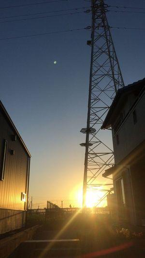 夕陽 Sunset 太陽 Sun 鉄塔 Pylon 空 Sky