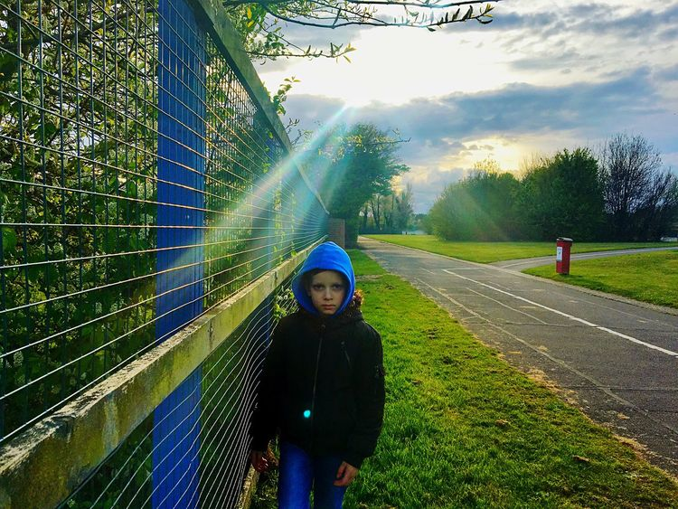 Boy Sun Sunlight And Shadow Trees Nature Clouds And Sky Outdoors Spring Metal Wall Guard Tadaa Community