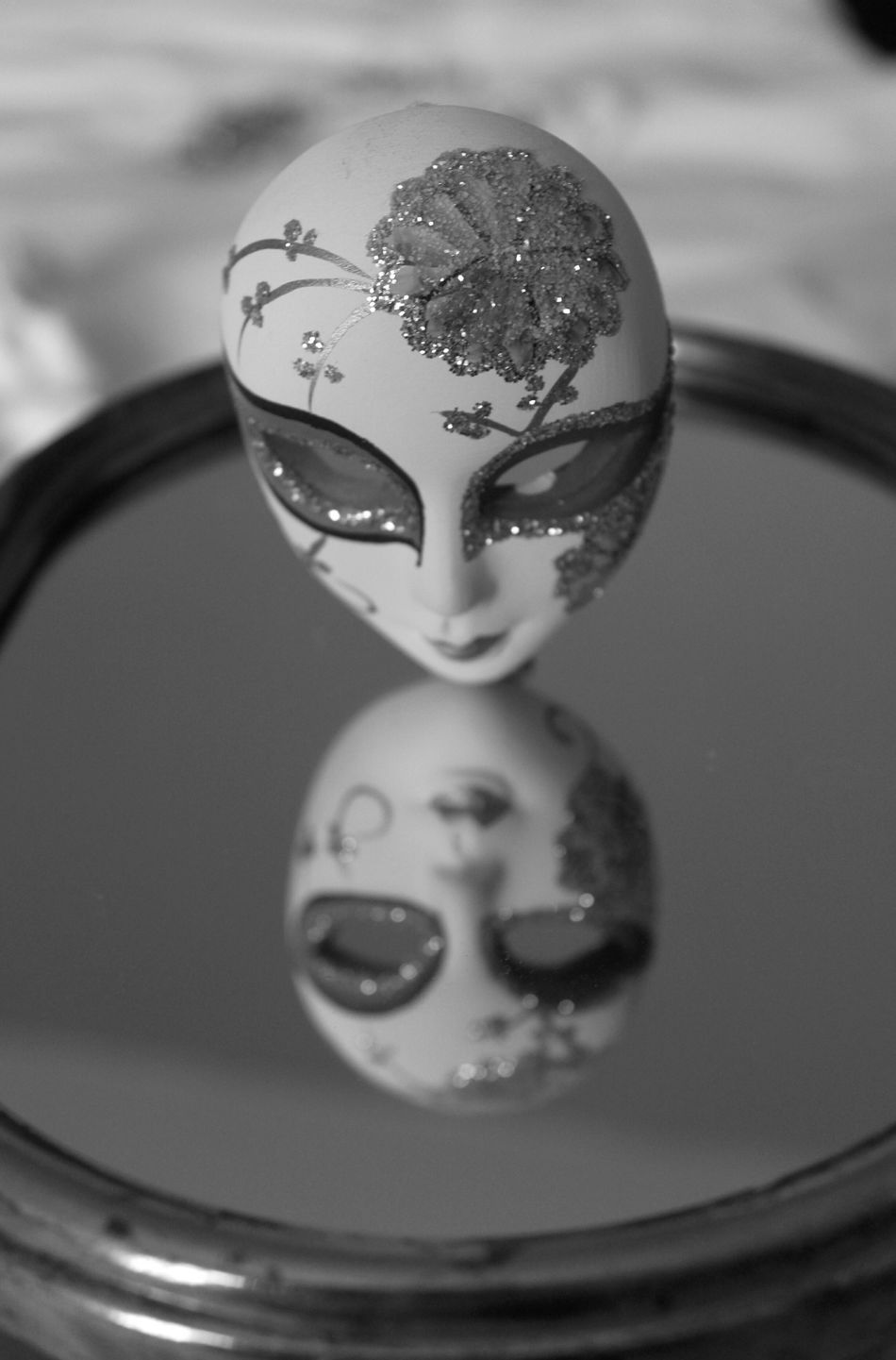 Bnw_friday_eyeemchallenge Mirror Mirror Reflection Mirror Picture Porcelain Mask Porcelain Face Reflection Reflection_collection Black And White Black And White Photography