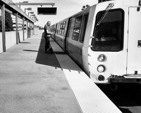 Onward Black And White Streetphoto_bw Street Photography Commuting BART Capture The Moment