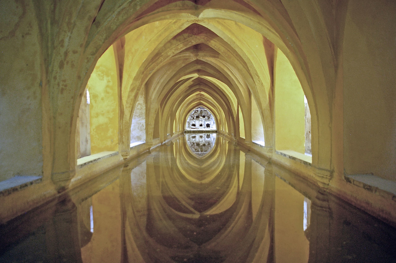 Alcazar Arch Architectural Column Architecture Bath Built Structure Day History Indoors  No People Tank The Architect - 2017 EyeEm Awards Water Water Reflections