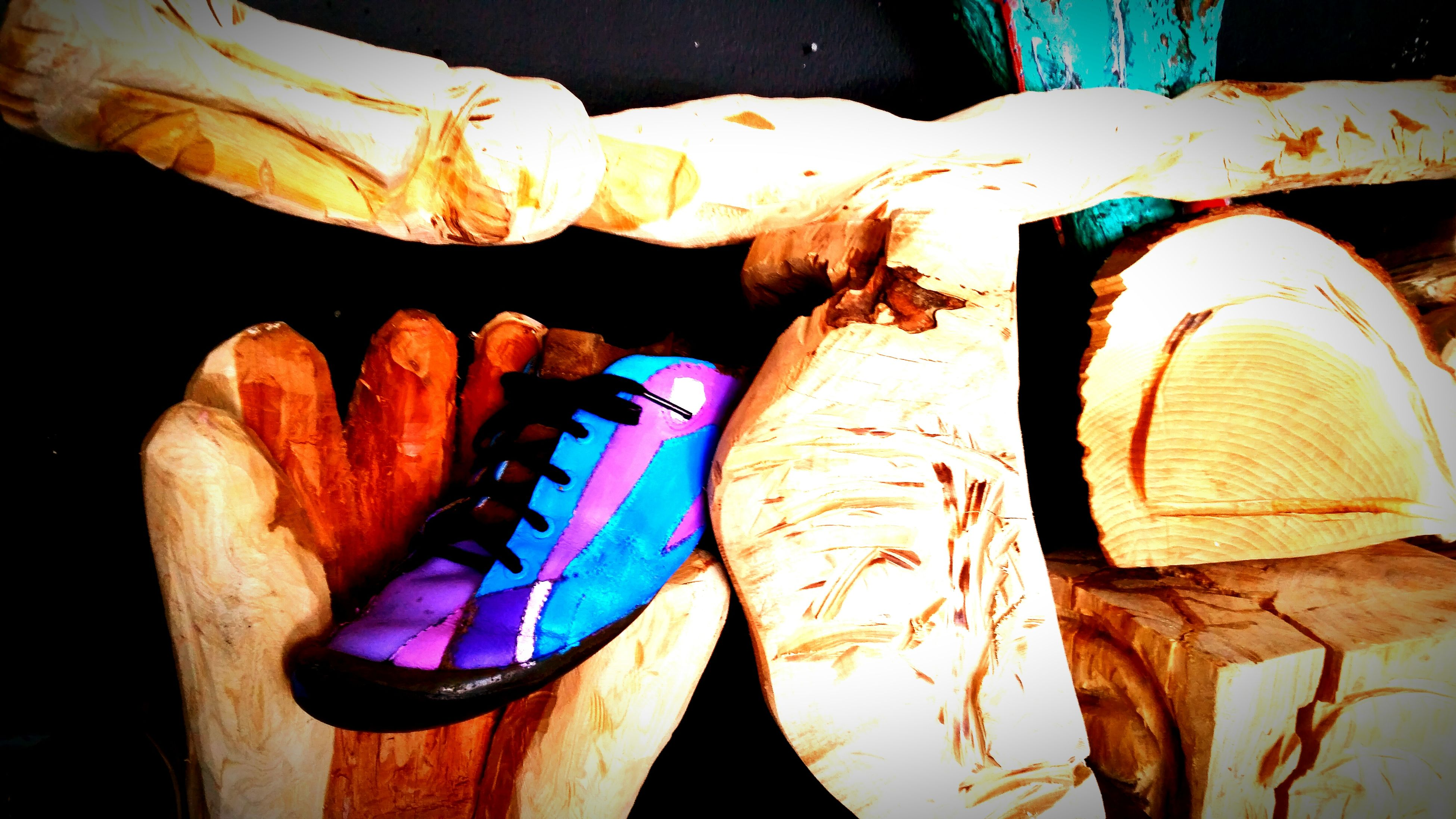 wood - material, still life, close-up, indoors, art and craft, art, creativity, wooden, wood, variation, no people, high angle view, dead animal, paper, brown, blue, rope, table, tied up, multi colored