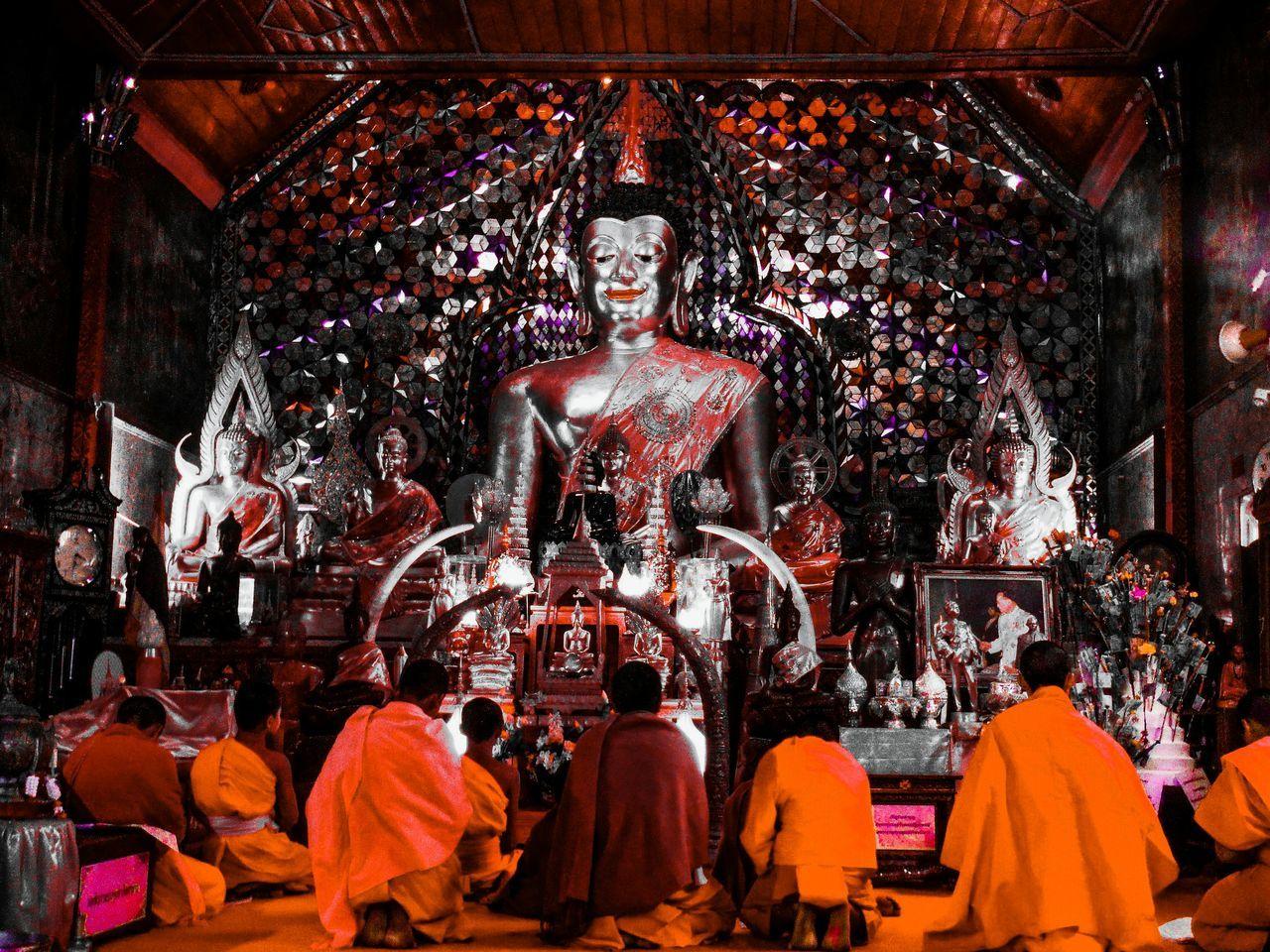 Doi Suthep Doi Suthep Temple Doisuthep Wat Phra That Doi Suthep Watphrathatdoisuthep Chiang Mai Thailand Chiang Mai | Thailand Chiang Mai Temple Temple - Building Temple Architecture Thailand Temple Place Of Worship Spirituality Religious  Orange Carmine Carmine Filter Monks Monk  Praying Prayer Pray Buddha Buddha Statue