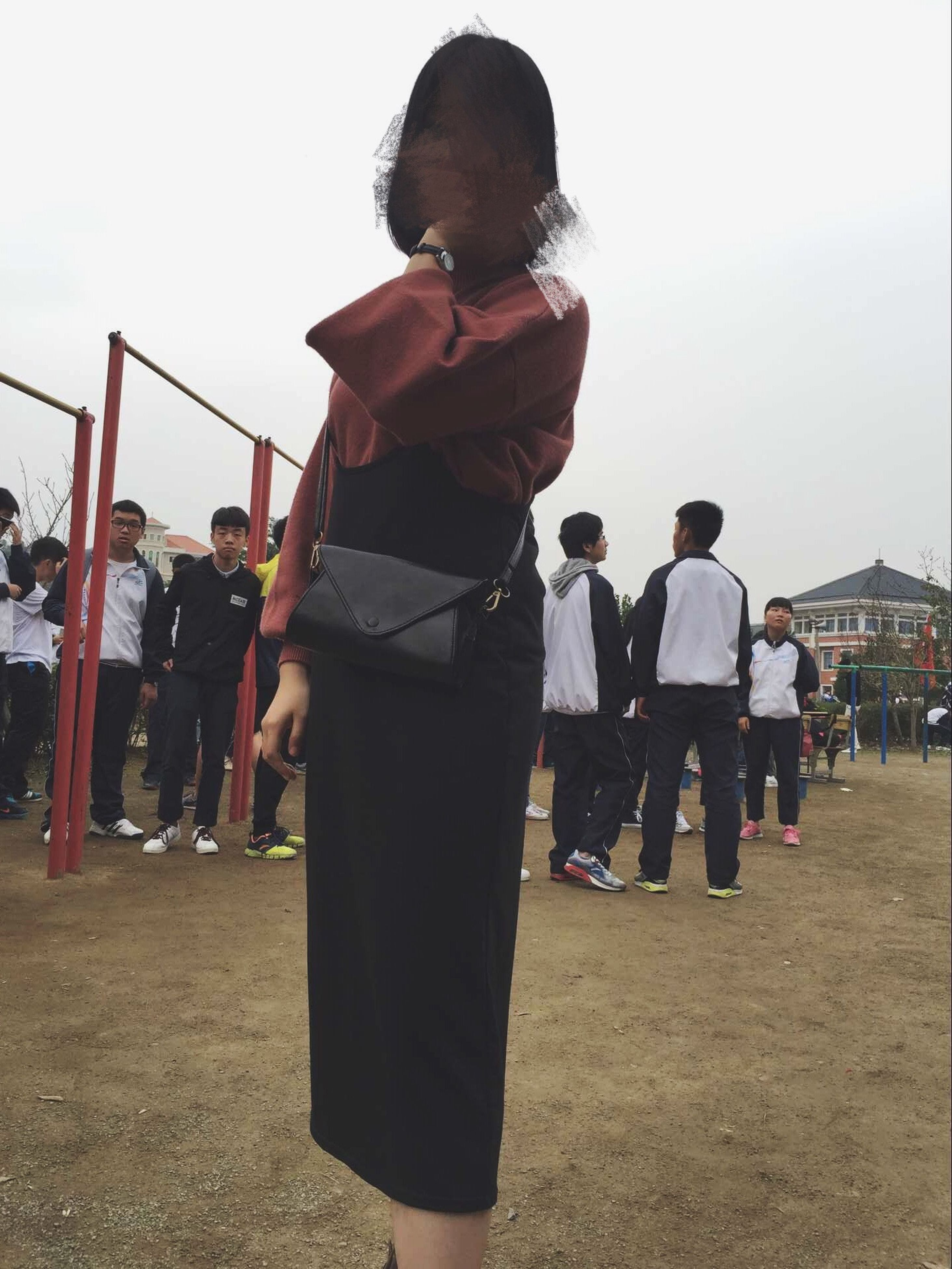 lifestyles, leisure activity, casual clothing, men, full length, togetherness, standing, love, rear view, person, sky, walking, bonding, boys, friendship, built structure, large group of people, day