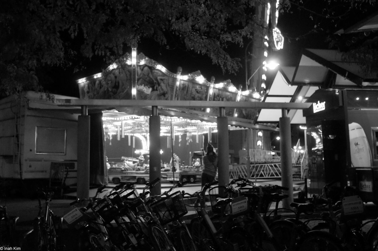 Outdoors Illuminated Traveling Carnival Party Fun Enjoyment Person Night Lit Travel Destinations Black And White Monochrome Photography Marburg An Der Lahn