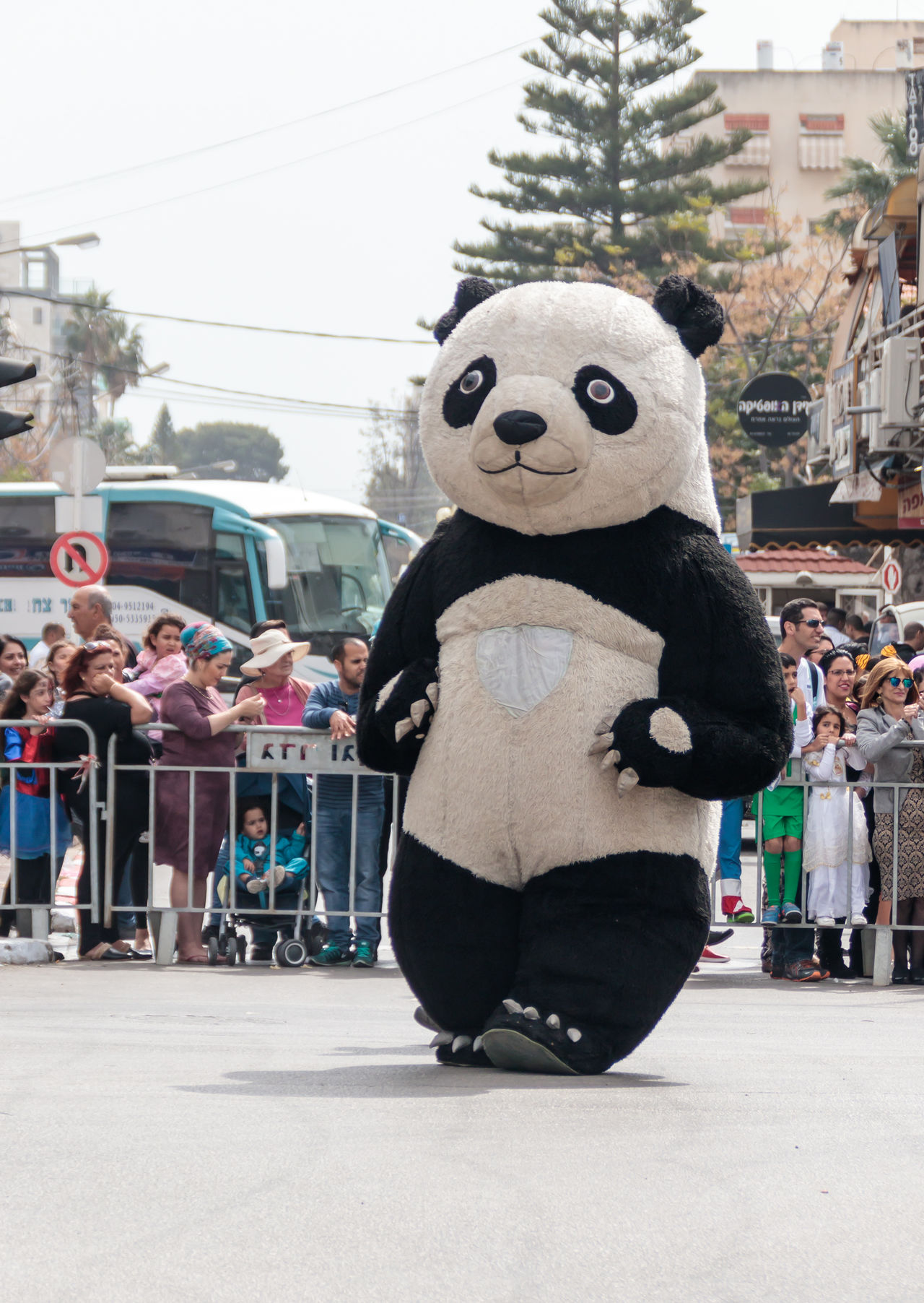 "Nahariyya, Israel, March 10, 2017 : Participant in the traditional annual carnival parade ""Adloyada"" dressed in the big suit of Panda goes near the viewers in Nahariyya, Israel Adloyada Adult Beauty Carnival Celebration Colorful Costume Culture Day Decoration Dressed Entertainment Festival Fun Happy Israel Masquerade Nahariyya Outdoors Parade Party People Style Traditional Travel"