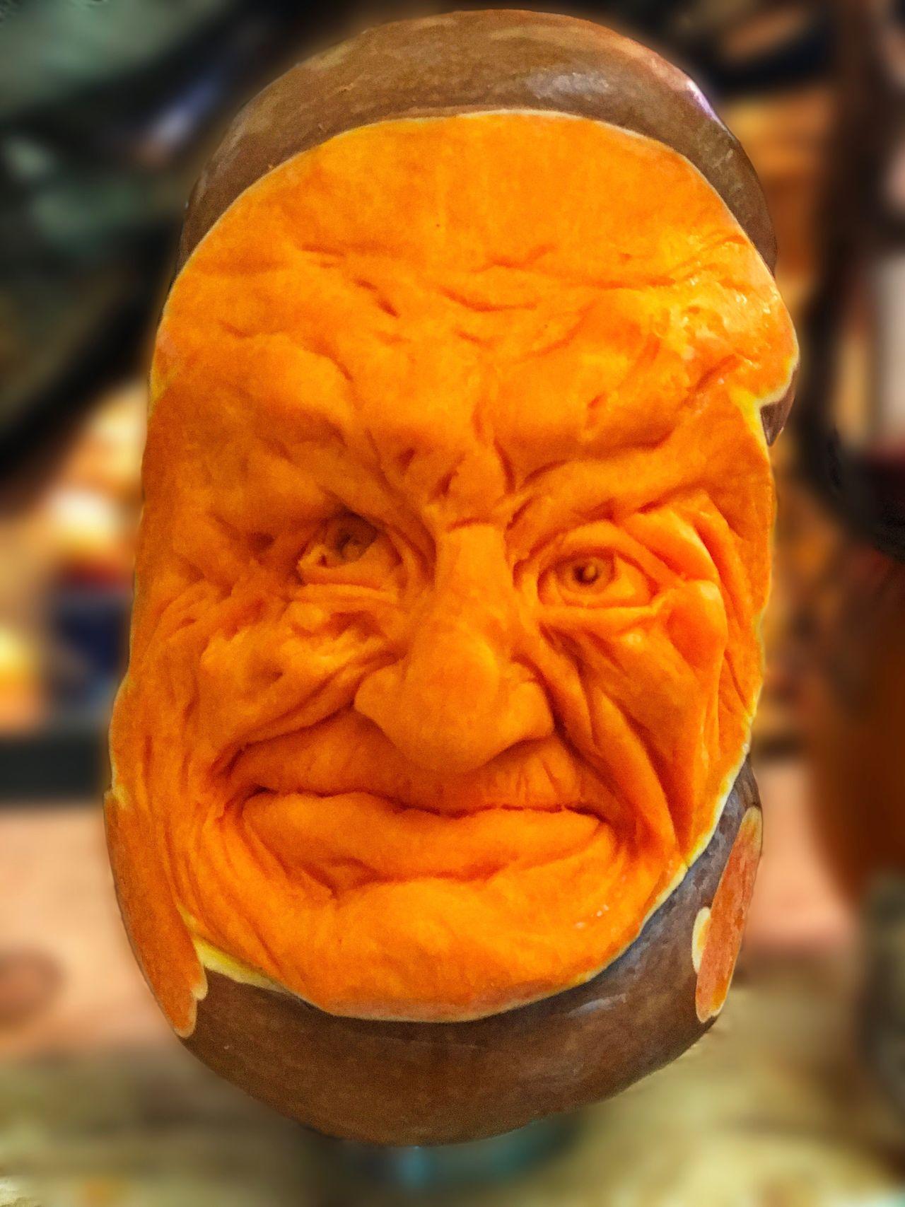 Kopf Close-up Orange Color IPhone 7 Plus Headshot Face Gesicht Schnitzerei Halloween Kürbis Potsdam Pumpkin Focus On Foreground Horror