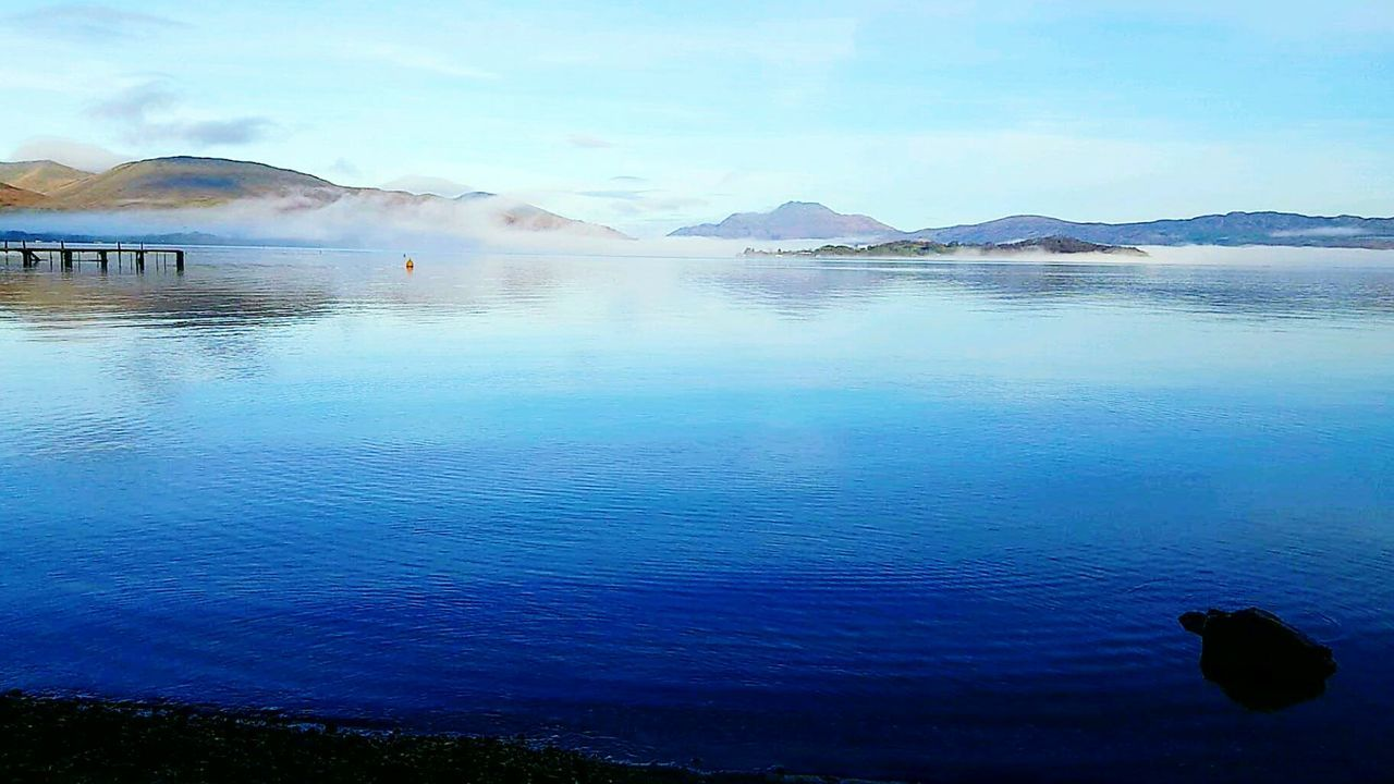 Visual Feast Water Mountain Reflection Blue Lake Nature Outdoors No People Day Scenics Beauty In Nature Sky Architecture LochLomond Beauty In Nature Landscape Tranquility