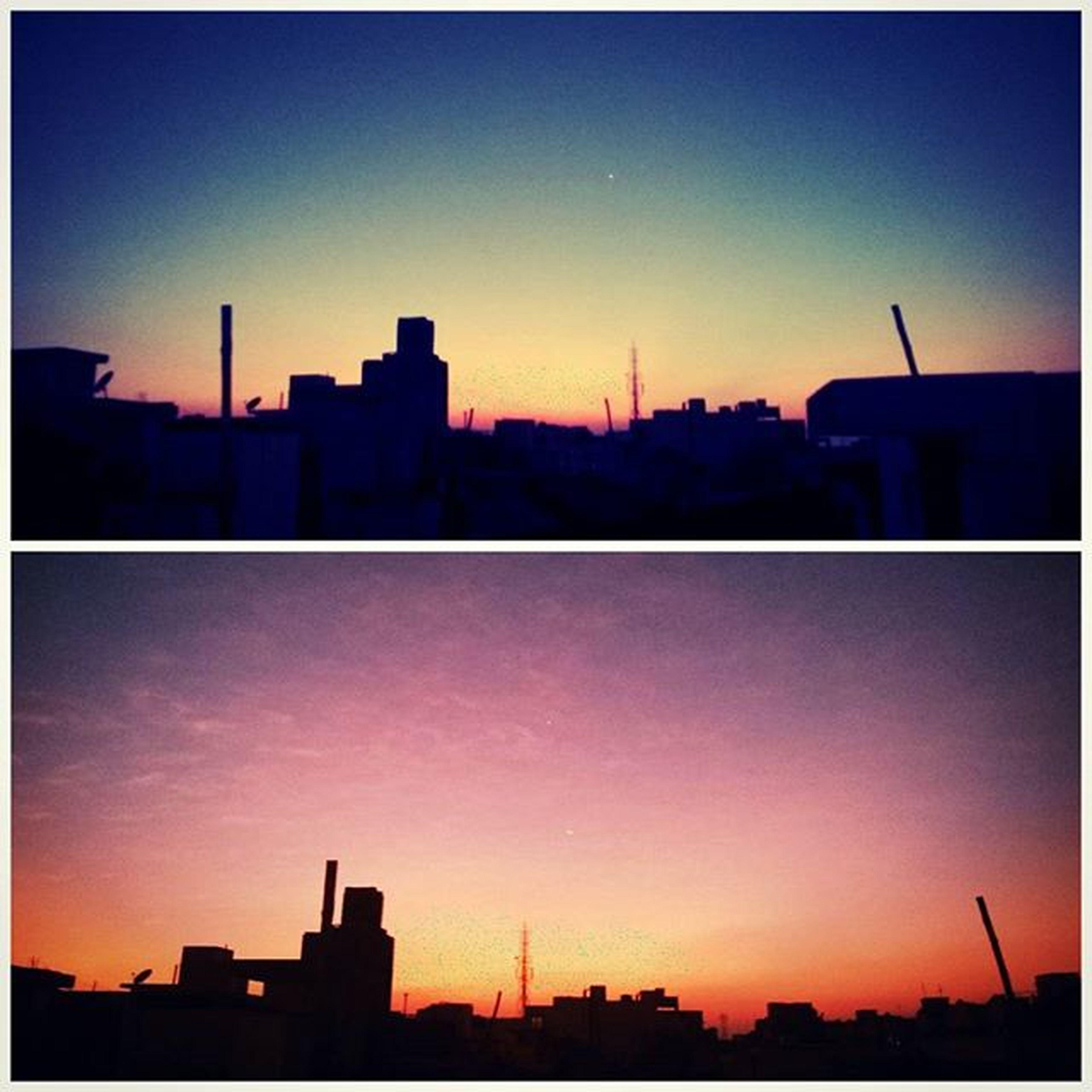 sunset, silhouette, building exterior, architecture, built structure, city, orange color, transfer print, clear sky, copy space, skyline, cityscape, auto post production filter, sun, outline, sky, dusk, skyscraper, tower, dark