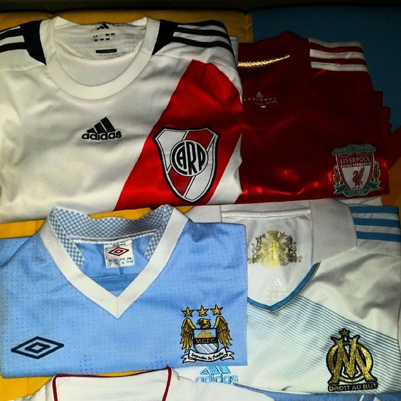 My passion.... Football Shirt Adidas Riverplate Liverpool Olympique Marseille Top Umbro ManchesterCity Citizens Istacool Instagood Instagram Istalove Followme Follow Istafresh Instamood