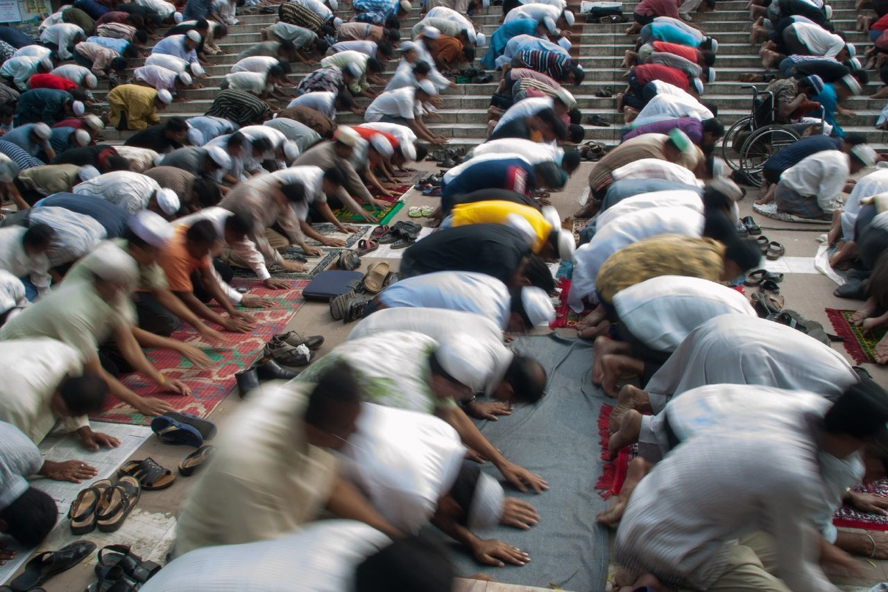 Beautiful stock photos of prayer, Cultures, Friday Mosque, Full Length, In A Row