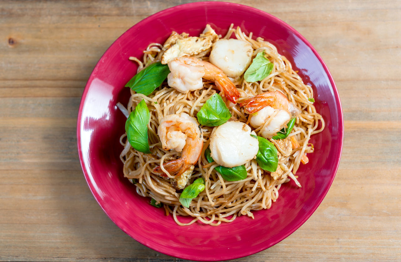 Asian Food Close-up Cooked Day Egg Yolk Food Food And Drink Freshness Fried Noodle Garnish Healthy Eating High Angle View Indoors  Meal No People Noodle Plate Ready-to-eat Serving Size Thai Food