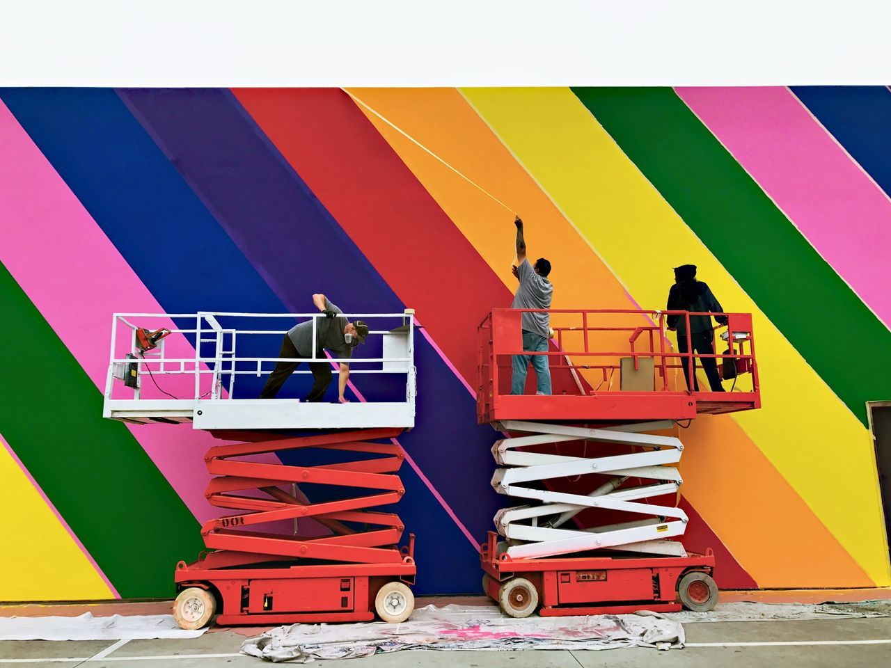 Outdoors Rainbow Wall - Building Feature Paul Smith Painting Street Photography Men Painting Scissors Lift Multi Colored