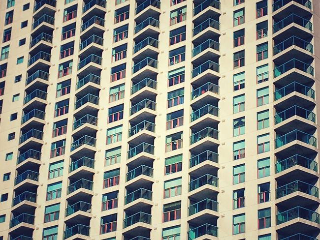 Beautifully Organized Full Frame Architecture Pattern Built Structure Low Angle View Building Exterior Window Embrace Urban Life City Repetition Modern Backgrounds Day Skyscraper Apartment Balcony Façade House Lifestyle Close Up Cement Glass Building Building Story