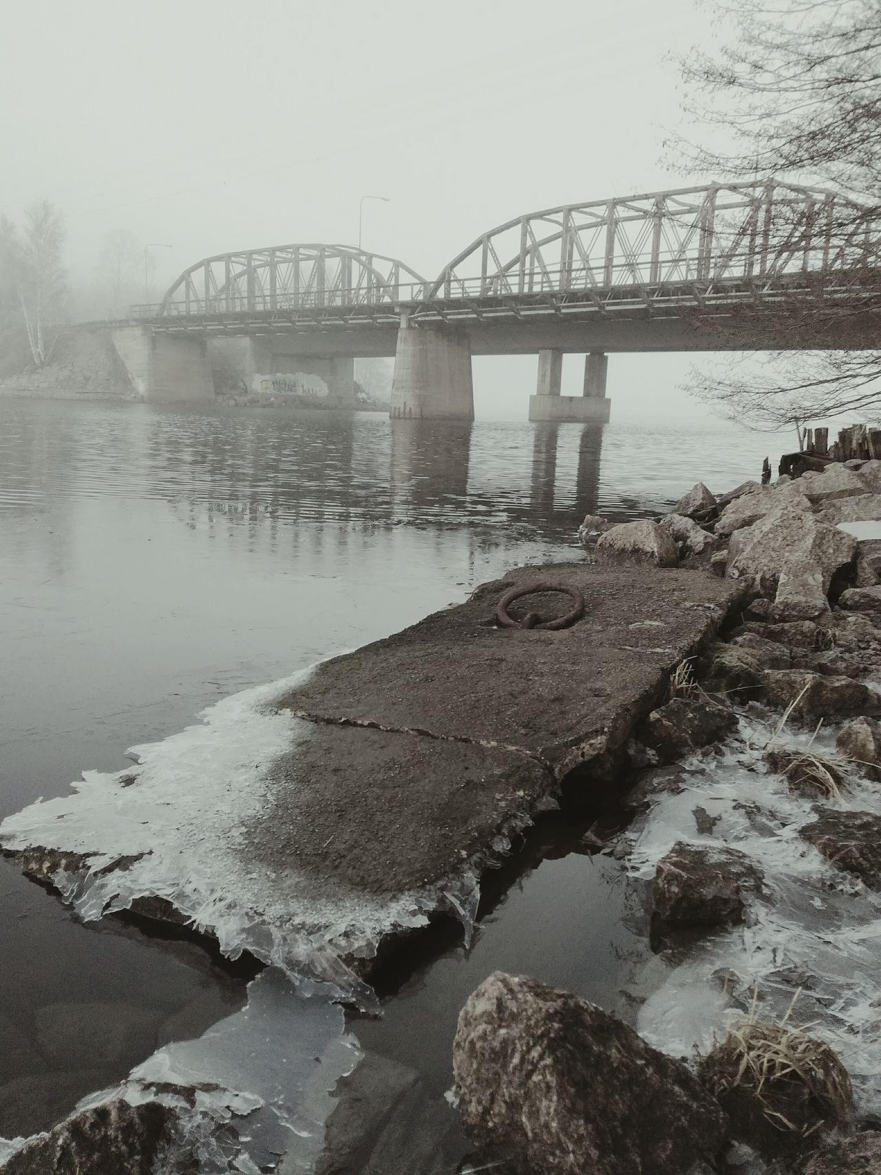 Bridge - Man Made Structure Built Structure Outdoors No People Water Fog Landscape Shades Of Nature By The Sea Wintertime Ruins Local History Past Abandoned_junkies Industrial Finland Halla Abandonedplaces Architecture Shades Of Grey Stones & Water Foggy Weather Old Bridge Railway Bridge Iron Bridge