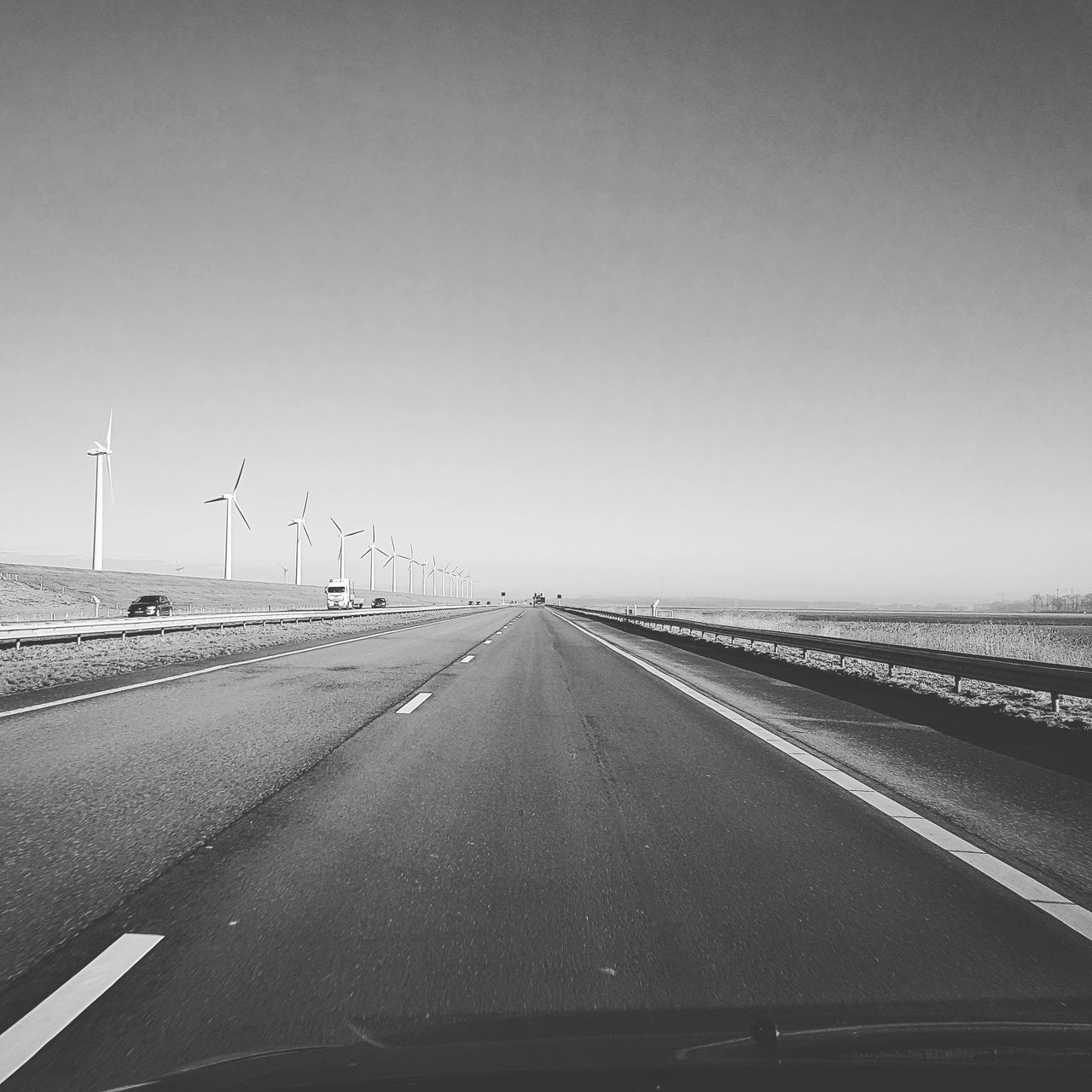 Flevoland Highway Transportation No People Highwayphotography 90mph Blackandwhite Blackandwhite Photography Ford Ford Focus Cruisin Netherlands Roadtrip Road To Nowhere Roadside Shots Windmill Windmils