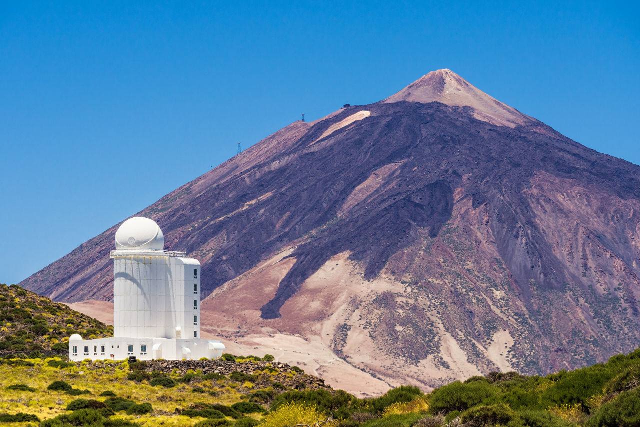 The Observatorio del Teide on the canary island Tenerife. Antenna - Aerial Astronomy Building Exterior Day Mountain No People Observatory Outdoors Radar Sky Sky And Clouds SPAIN Teide National Park Teide Volcano Telecommunications Equipment Tenerife Volcano