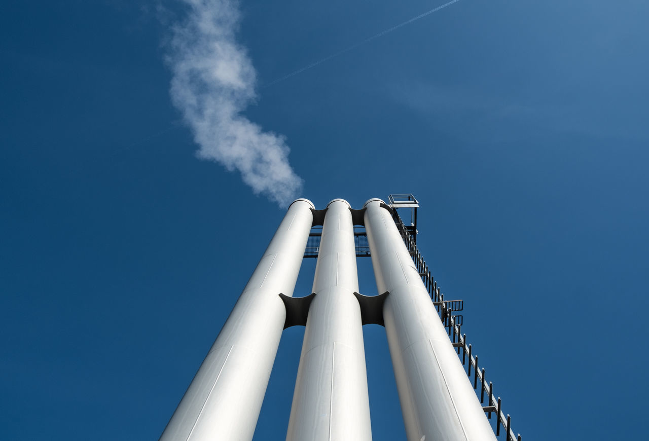 Chimneysthree Berlin Blue Blue Sky Built Structure Chimney Clear Sky Day From My Point Of View Industry Lookingup Low Angle View Minimal Minimalism Minimalist Minimalist Architecture Minimalistic No People Outdoors Simplicity Sky