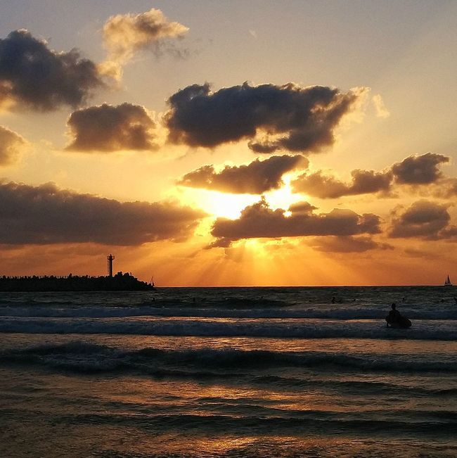Beach Golden Hour Horizon Over Water Israel Beaches Orange Color Sea Silhouette Sky Sun Sunset Tranquil Scene Water