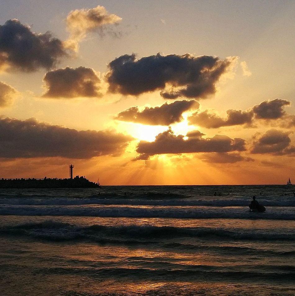 Beach Golden Hour Horizon Over Water Israel Beaches Orange Color Sea Silhouette Sky Sun Sunset Tranquil Scene Water