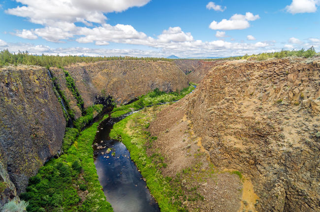 View of a canyon with the Crooked River flowing below Bend Central Oregon Colorful Deschutes Deschutesriver  Forest Grass Highway Landscape Nature Oregon Outdoors Park Rapids River Rocks Rushing Tourism Travel Tree United States View Water Wild Wood