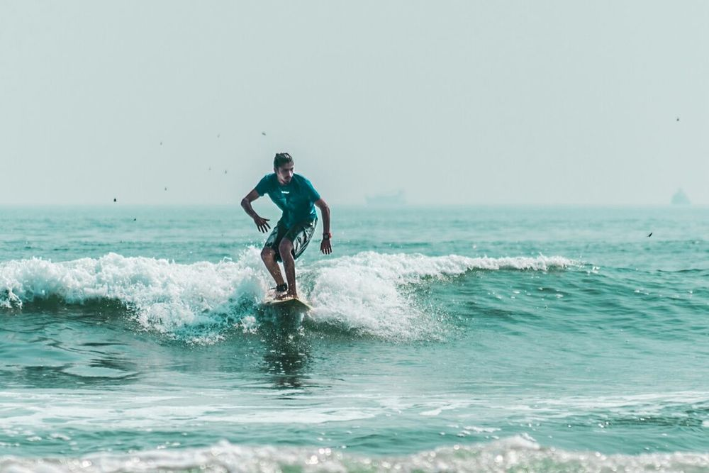 THEY SEE ME SURFIN Sea Adventure Splashing Watersports Outdoors Surfboard Skill  Beach Wave Motion Water Sport Odisha Surf Fest Isf
